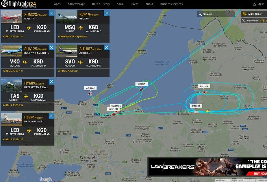 Скриншот flightradar24