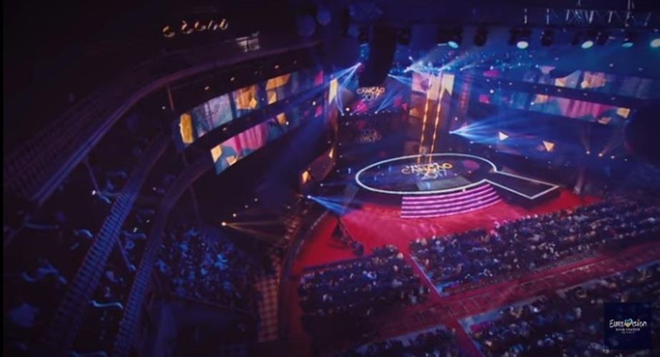 """кадр видеозаписи с конкурса """"Евровидение"""""""