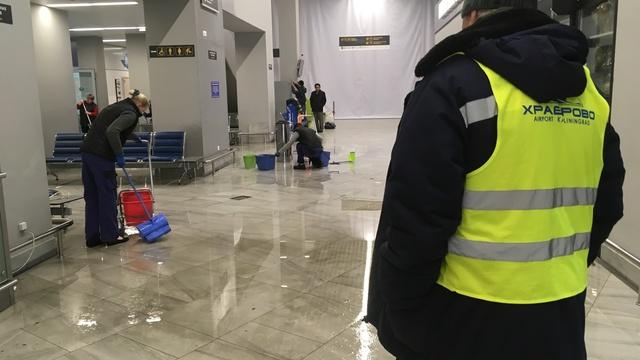 В аэропорту Храброво прорвало трубу системы пожаротушения