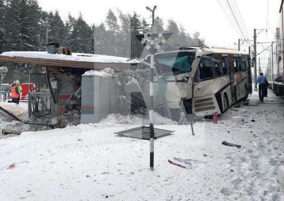 В Ленобласти автобус с интуристами столкнулся с поездом, есть пострадавшие (фото)