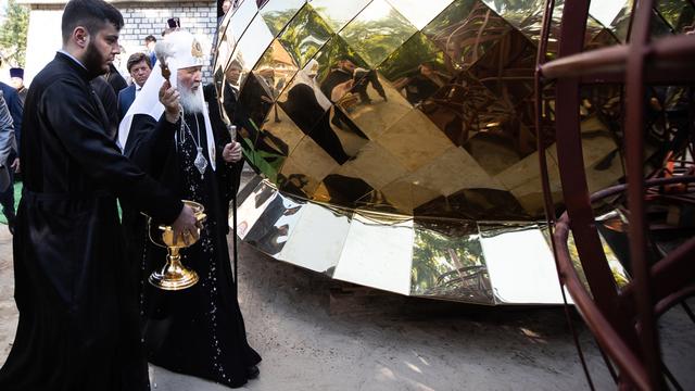 Освящение патриархом главного купола храма Кирилла и Мефодия, строящегося на проспекте Мира (фоторепортаж)