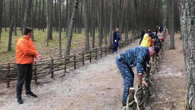 Студенты из девяти стран построили плетень на главной аллее Танцующего леса (фото)