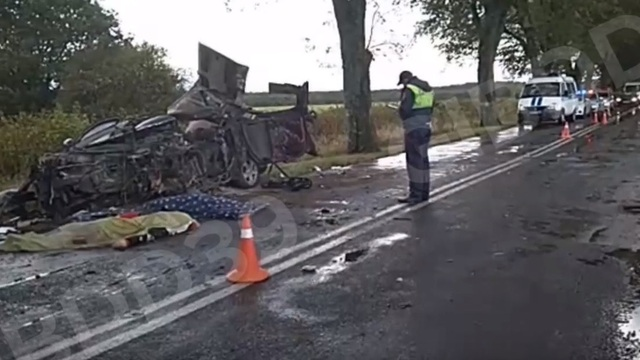 На место смертельной аварии с Dodge под Янтарным выехал начальник региональной ГИБДД (видео)