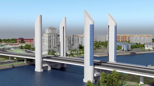 Калининградцам показали будущий шестиполосный мост рядом с двухъярусным (эскизы)