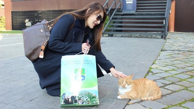 Жительница Японии привезла зеленоградским котам подарки от музея города Ономити