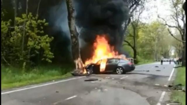 Очевидцы: на балтийской трассе столкнулись и загорелись две машины (фото, видео)