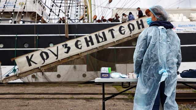 С антисептиками и в масках: как встретили прибывший в калининградский порт