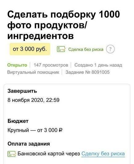 Заказ на подборку 1000 фото продуктов   Скриншот с сайта Youdo
