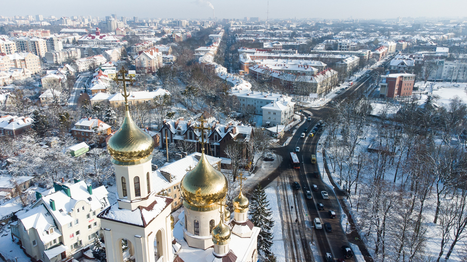 Фото дня: озеро Поплавок и его окрестности с высоты - Новости Калининграда | Екатерининская церковь