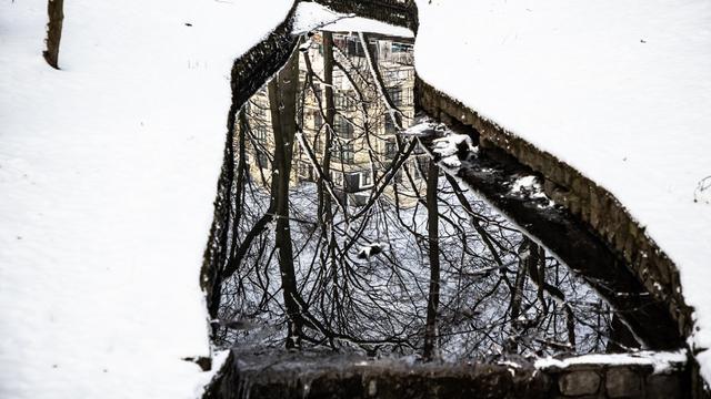 Фото дня: Ручей. Зима. Отражение.