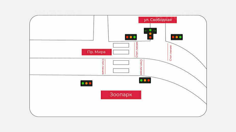 В Калининграде у зоопарка установят светофоры  - Новости Калининграда | Схему подготовила Евгения Будадина