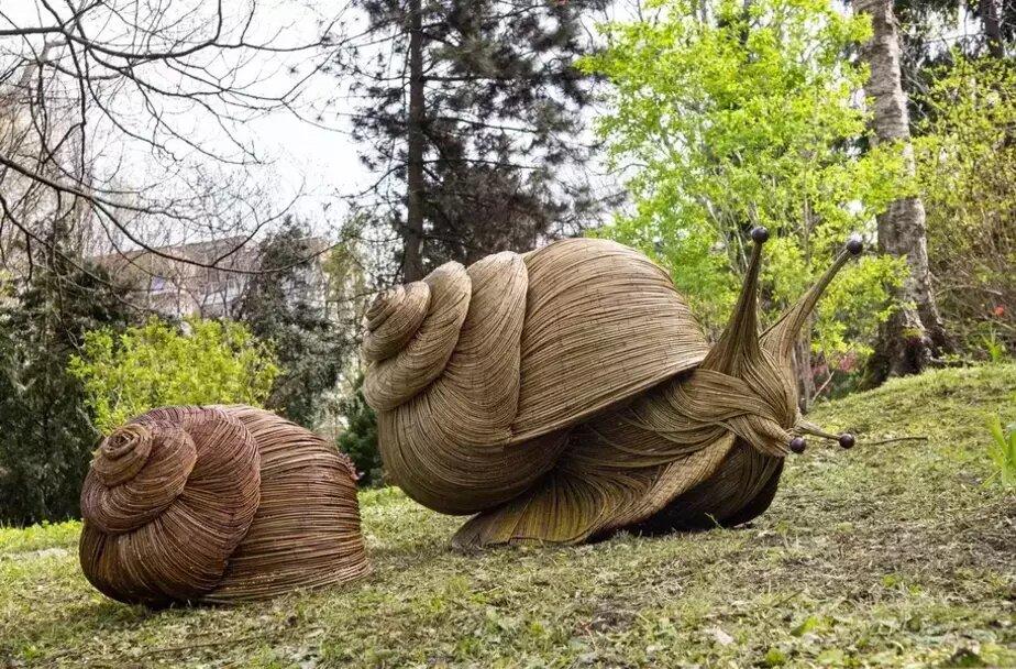 В калининградском парке появились плетёные улитки в человеческий рост (фото) - Новости Калининграда   Фото предоставила Кристина Евстигнеева