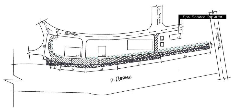 Газон и спуски к Дейме: в Гвардейске обустроят набережную рядом с домиком Ловиса Коринта - Новости Калининграда | Фото: проектная документация