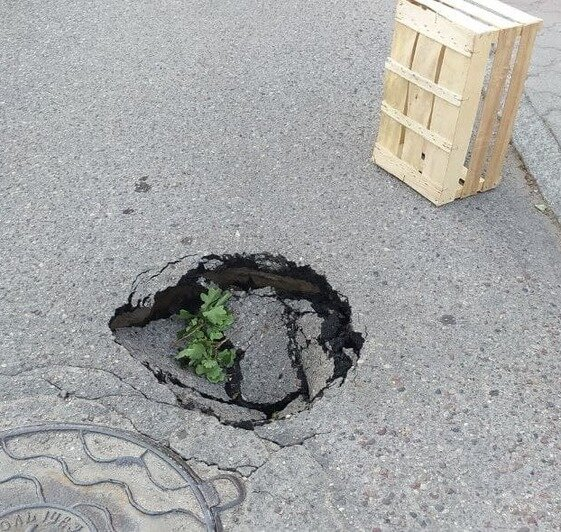 В Центральном районе Калининграда провалилась дорога (фото) - Новости Калининграда   Фото очевидца